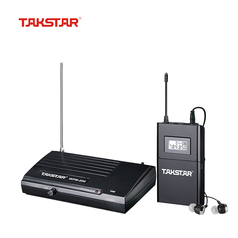 Takstar WPM-200 UHF Wireless Monitor System Receiver LCD Display 6 Selectable Channels 50m Transmission With In-ear Headset