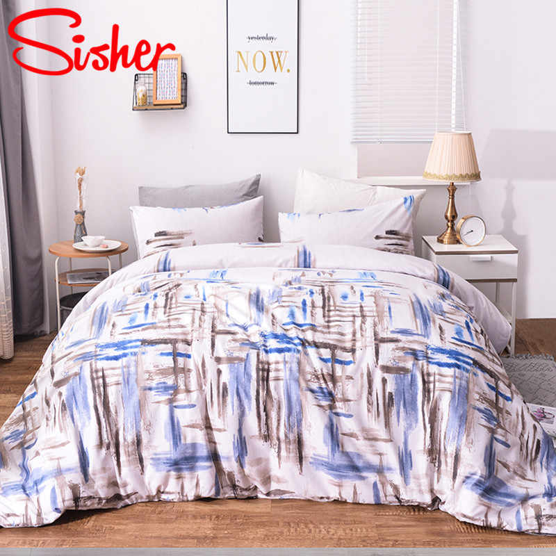 Sisher Simple Flower Print Bedding Sets For Adult Nordic Geometric Bedclothes Bedding-set Size Single Double Full Queen King