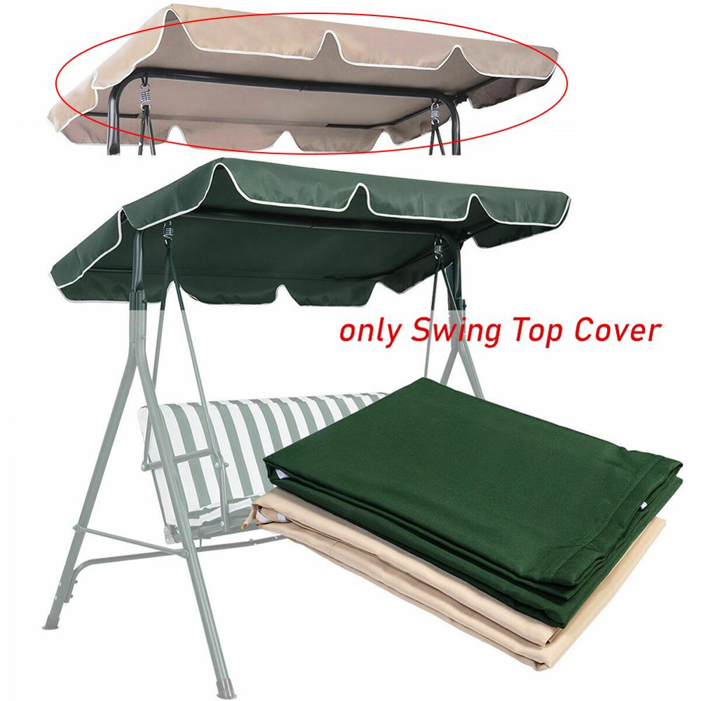 Green/Beige Swing Top Cover Canopy Replace Porch Patio Outdoor Swing Chair Awning 142*120*18cm For Roof Structure Not Iron Stand