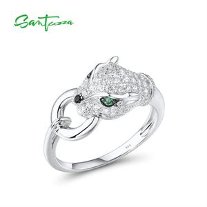 Image 4 - SANTUZZA Silver Jewelry Set For Women Pure 925 Sterling Silver Trendy Panther Ring Earrings Pendant Set White CZ Fashion Jewelry
