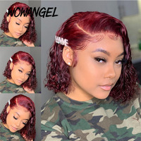 Transparent Lace Wigs 99j Burgundy Colored Bob Wig Lace Front Wig Curly Human Hair Wig Red 13x6 Lace Front Human Hair Wigs