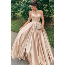 AE818 Een Lijn Prom Dresses Mooie Sweetheart Backless Champagne Satin Party Wear Custom Made Floor Lenth Ruche Prinses Gown