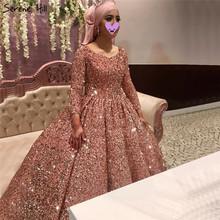 Serene Hill Dubai różowe złoto O-Neck luksusowe suknie ślubne 2020 cekiny Sparkle długie rękawy suknie ślubne DHA2294 Custom Made tanie tanio Pełna Tulle NONE Długość podłogi Lace up REGULAR Cekinami Candy Color empire China Suknia balowa