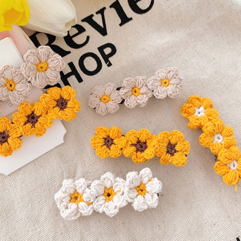 Women Sweet Girls Hair Clip Handmade Crochet Knit Flowers Fall Alligator Hairpin