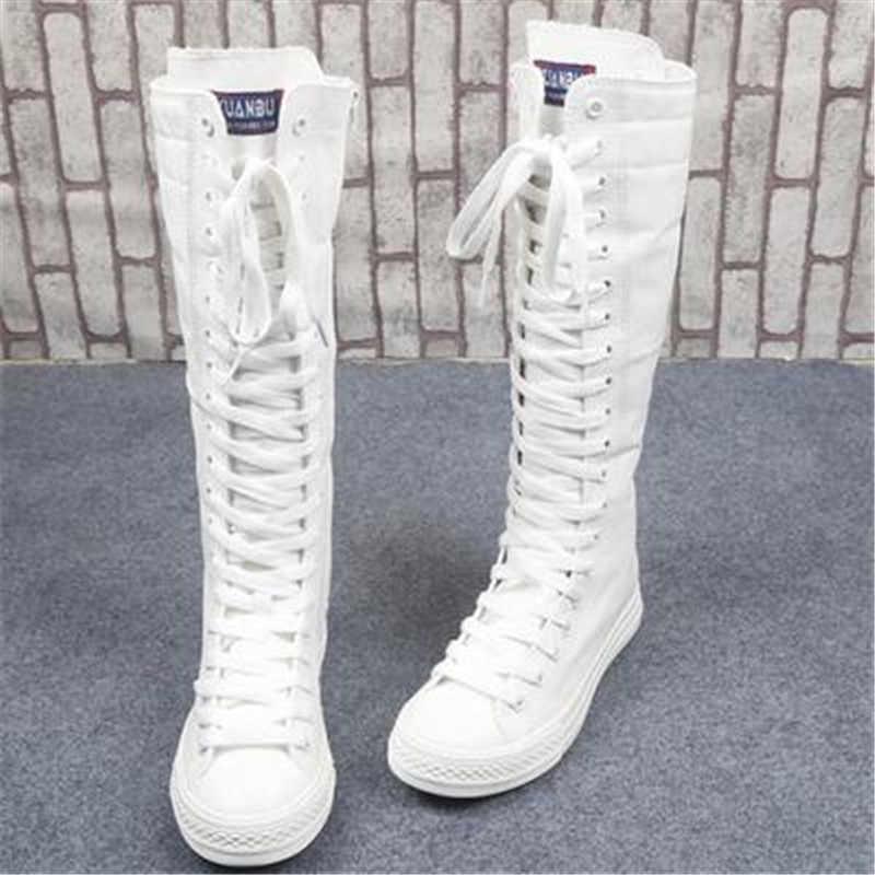 Femmes bottes plate-forme mi-mollet fermeture à lacets toile femme chaussures haut blanc Sexy Slim chaussures pour femmes taille 34-40