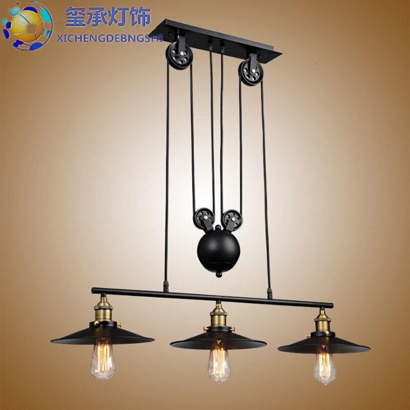 E27 Single Vintage Loft Retro Pendant Light Sconce Hanging Pulley Lamp Fixtures Restaurant Bar Home Decoration