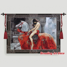 Lady Godiva Medieval Art Tapestry Wall hanging Jacquard Weave Gobelin Textile Decoration Aubusson Cotton 100 Big
