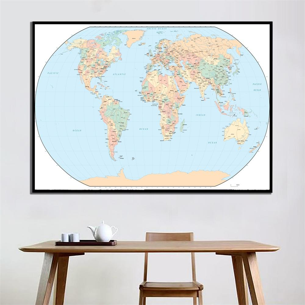 A2 Size World Map Mercator Projection Fine Canvas Waterproof Map Roll Packaged Crease-free HD Wall Map For Living Room Decor