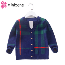 Autumn Boys Sweater Plaid Children Knitwear Cotton Cardigan Kids Fashion Outerwear T-shirt clothes Child Jumper New