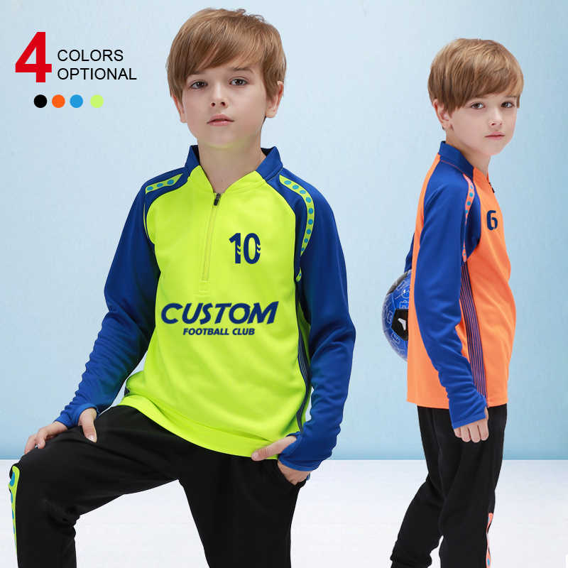 2019 Winter Soccer Sportswear Kids Tracksuit Fitness Running Sports Jogging Suits Boy's Jersey Long Sleeves Children Uniform