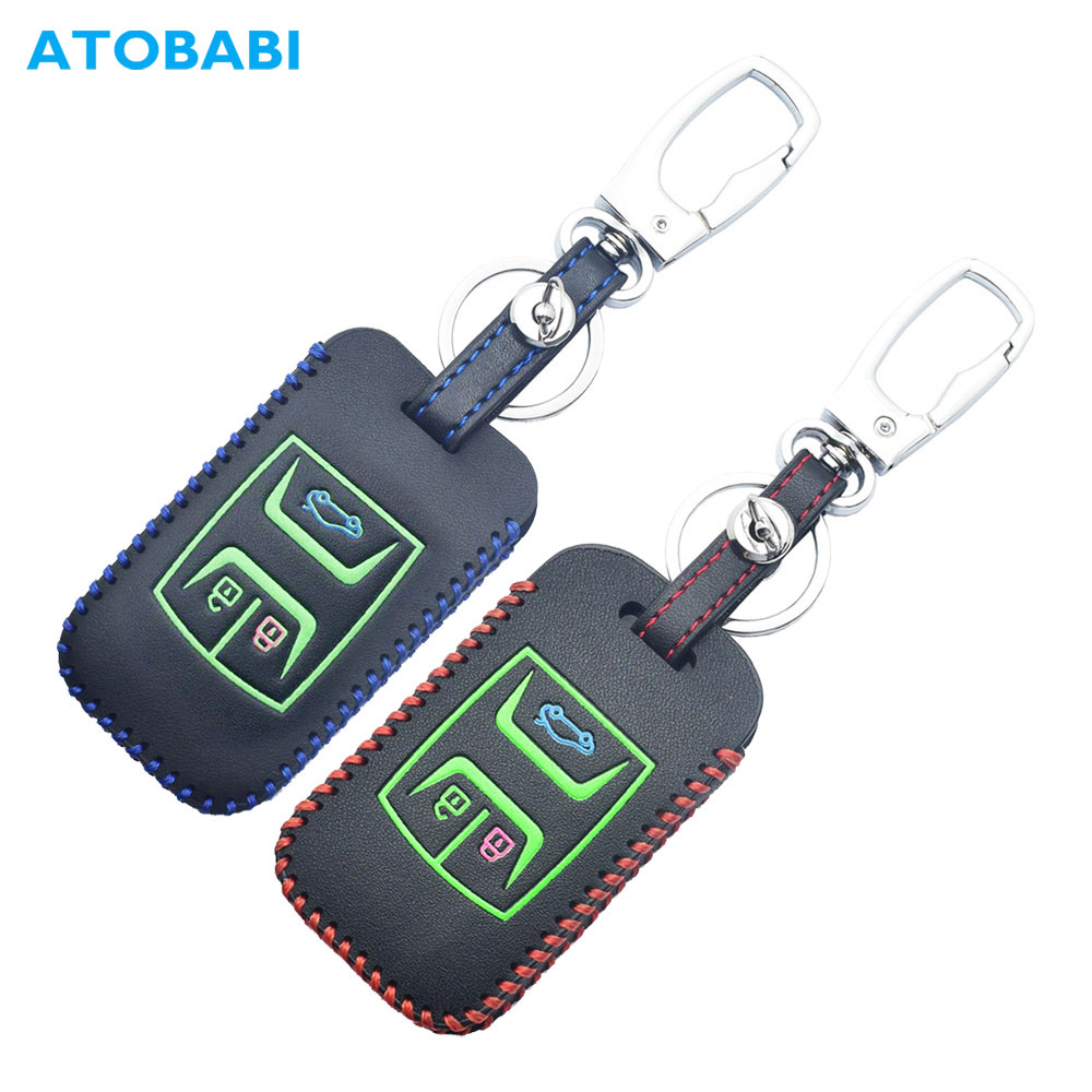 Leather Car Key Cover For Chery Tiggo 8 7 5X 2019 2020 Luminous 3 Buttons Smart Keyless Remote Fob Protect Case Keychain Holder(China)
