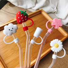 Creative Cherry Cloud Strawberry Silicone Straw Plug Reusable Drinking Dust Cap Glass Cup Accessories Cartoon Plugs Tips Cover