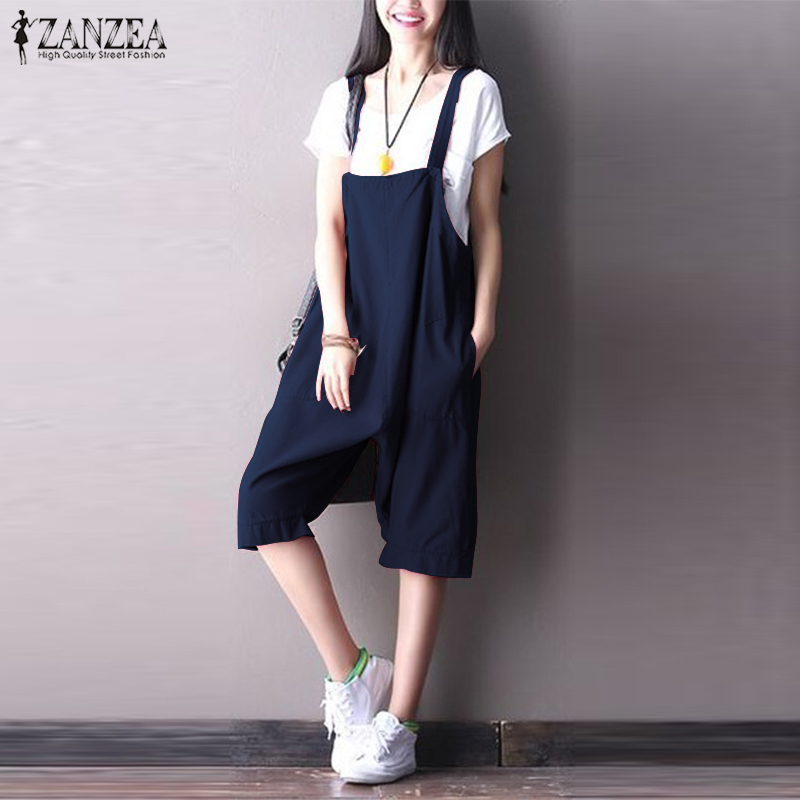 Women Jumpsuits Summer Overalls ZANZEA Casual Loose Rompers Solid Cotton Linen Playsuits Female Streetwear Pants Plus Size