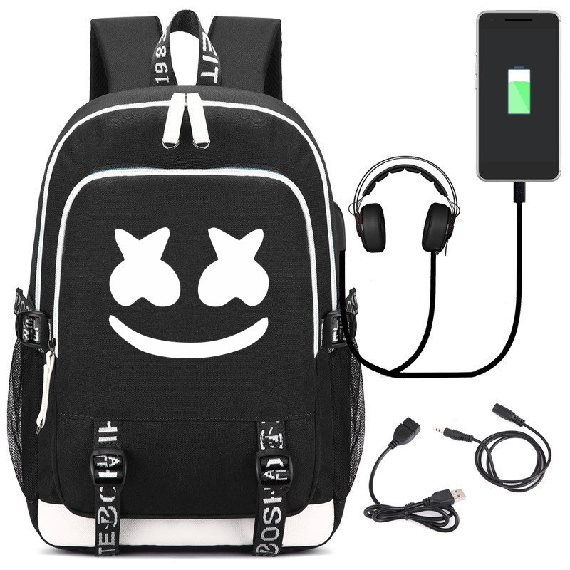 DJ Marshmello Backpack USB Charging Digital Backpack Student School Bag Marshmello Electronic Music Bag
