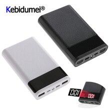 Duplo usb tipo c caso de banco de potência diy 4x18650 caixa de armazenamento da bateria do telefone móvel 15000 mah sem bateria com display led inteligente