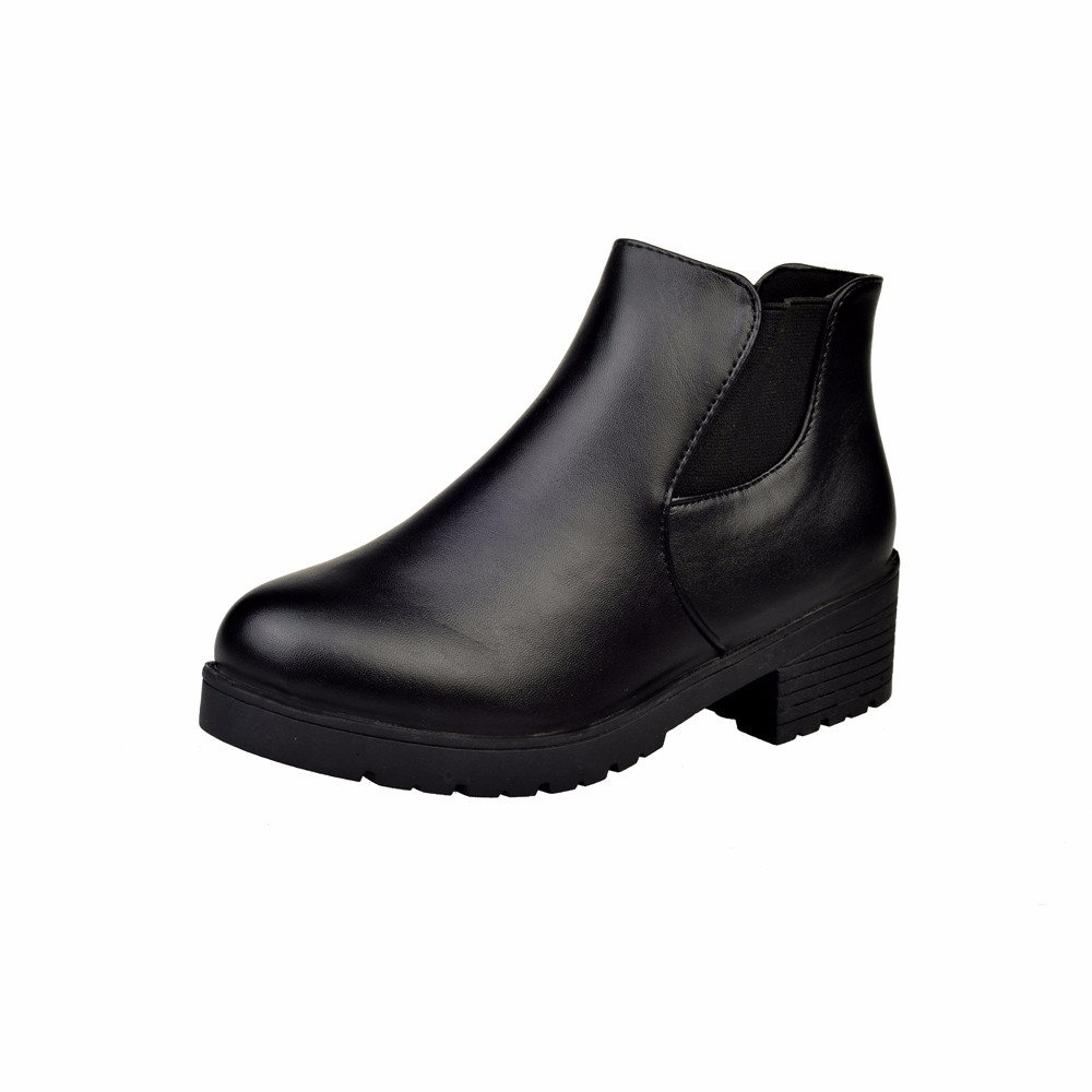 SAGACE Shoes Women Leather <font><b>boots</b></font> women Low Flat <font><b>Block</b></font> <font><b>Heel</b></font> Chelsea sexy <font><b>ankle</b></font> <font><b>boots</b></font> for women Casual Shoes female Outdoor 2019 image