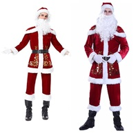 Men Cosplay Role Play Costume Male Christmas Party Clothing Performing Wig Hair Halloween Fancy Gift Costumes Santa Claus