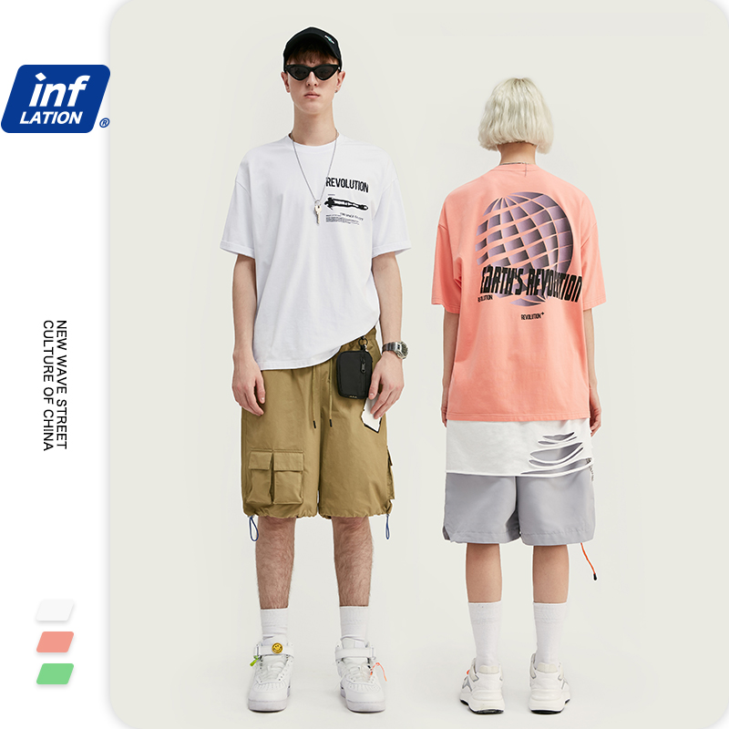 INFLATION Print Men Hip Hop Tshirt Boys Streetwear Tshirt Cotton O-neck Tops Tees Short Sleeve Harajuku Men Tshirt 1044S20