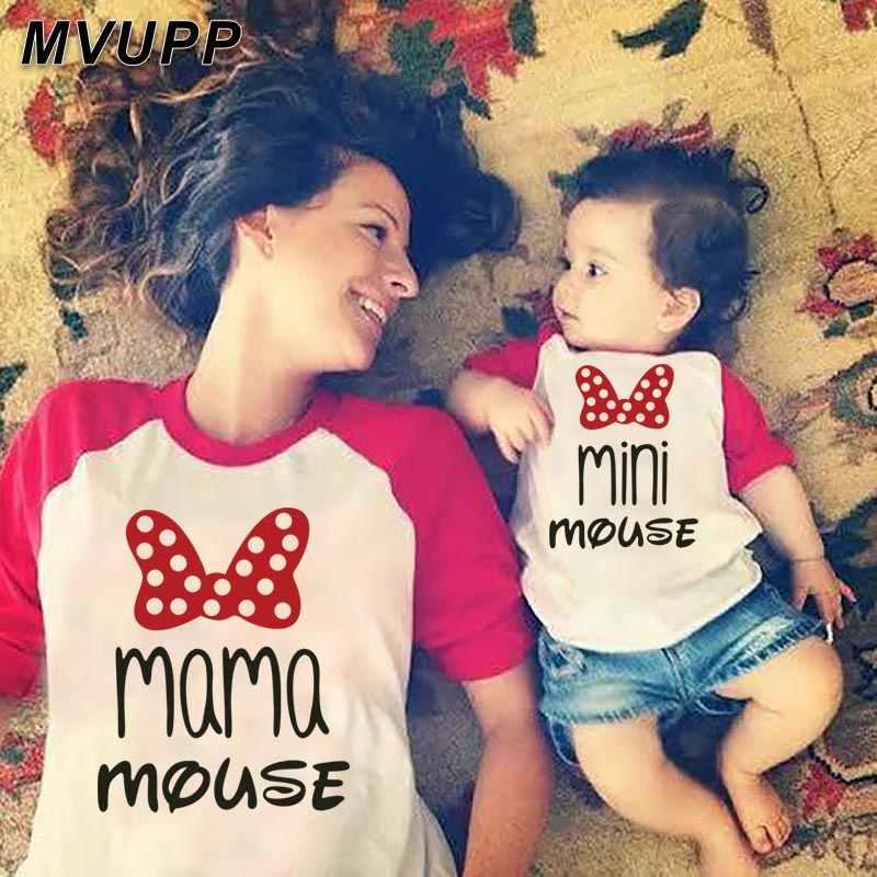 Papai mamãe mini mouse filho pai mãe filha roupas combinando mommy and me olhar roupas família t camisa longa t moda inverno