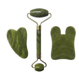 Нефритовый роликовый лицевой массажный набор инструментов из натурального камня массажер для лица гуаша Массажная доска гуашь скребок нефритовый ролик и комплект Guasha