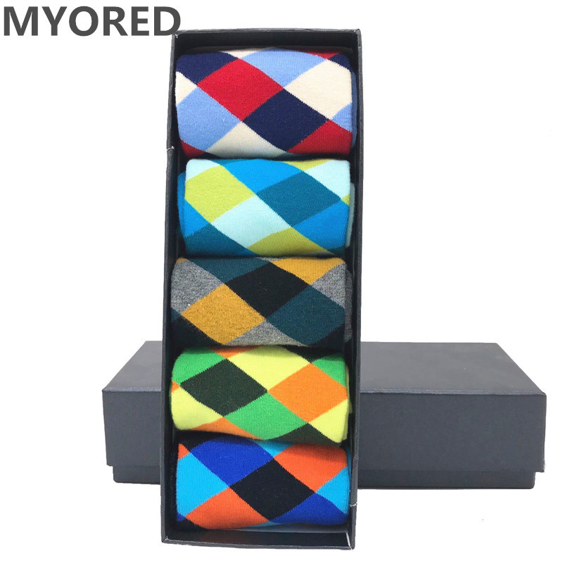 MYORED 5 Pair/lot Mens Cotton Classical Colorful Diamond Funny Sock Man Crew Grid Socks Birthday Gift Socks Casual Dress NO BOX