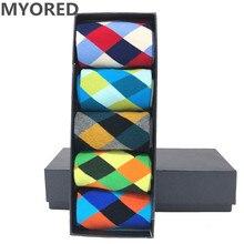 MYORED 5 pair/lot mens cotton classical Colorful Diamond Funny Sock man crew grid Socks birthday gift socks casual dress NO BOX