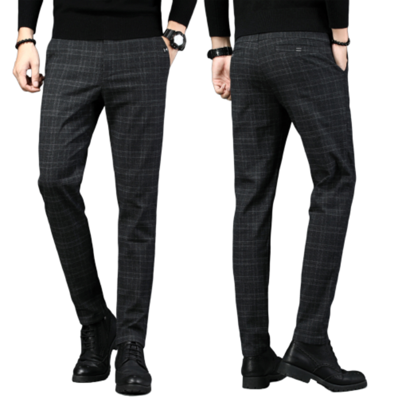 New Mens Casual Plaid Pants Business Casual Slim Fit Dark Grey Classic Style Elastic Trousers Male Brand Clothes Street Fashion