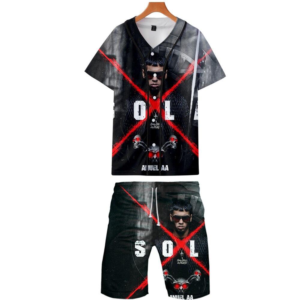 2019 Anuel AA Two Piece Set Jackets And Shorts Kpop Fashion New Cool Print Anuel AA Baseball Jacket Set For Men Streetwear