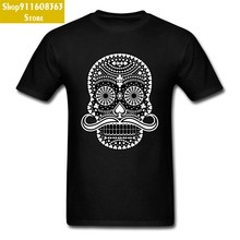 PP Flower Black Skull Model Tshirt 3D Printed 100% Natural Cotton Men's Top T-shirts Hip Hop Heavy Metal Band Punk Tee Shirt