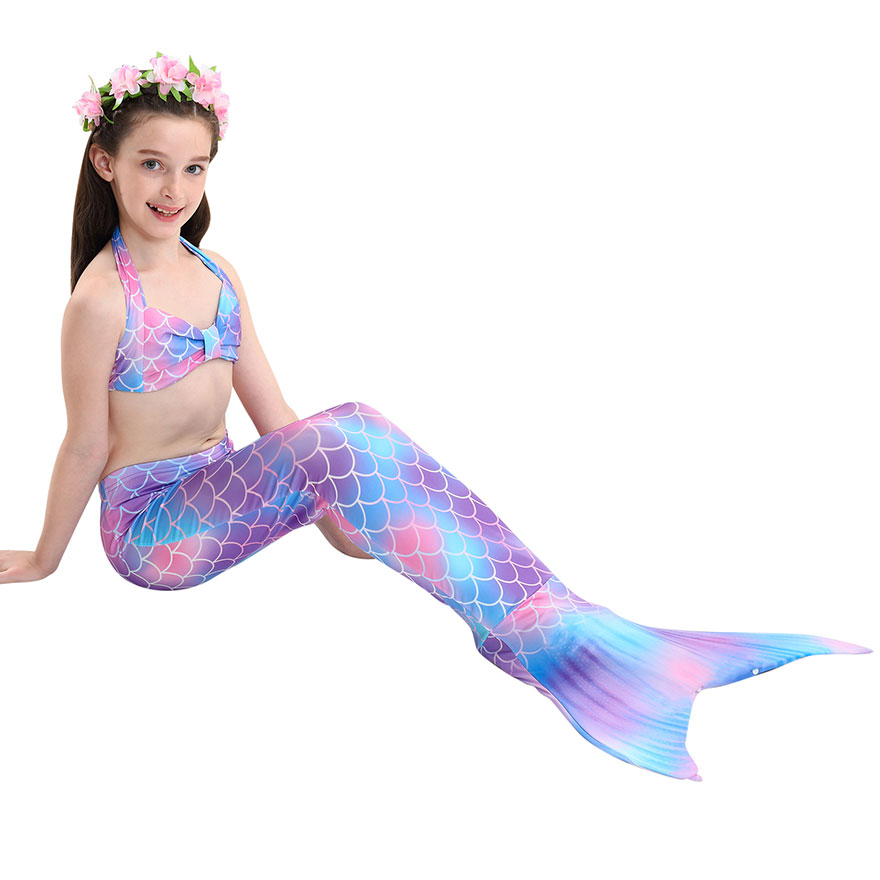 H815323ab351f475c86a6d32c9481e8aeV - Kids Swimmable Mermaid Tail for Girls Swimming Bating Suit Mermaid Costume Swimsuit can add Monofin Fin Goggle with Garland
