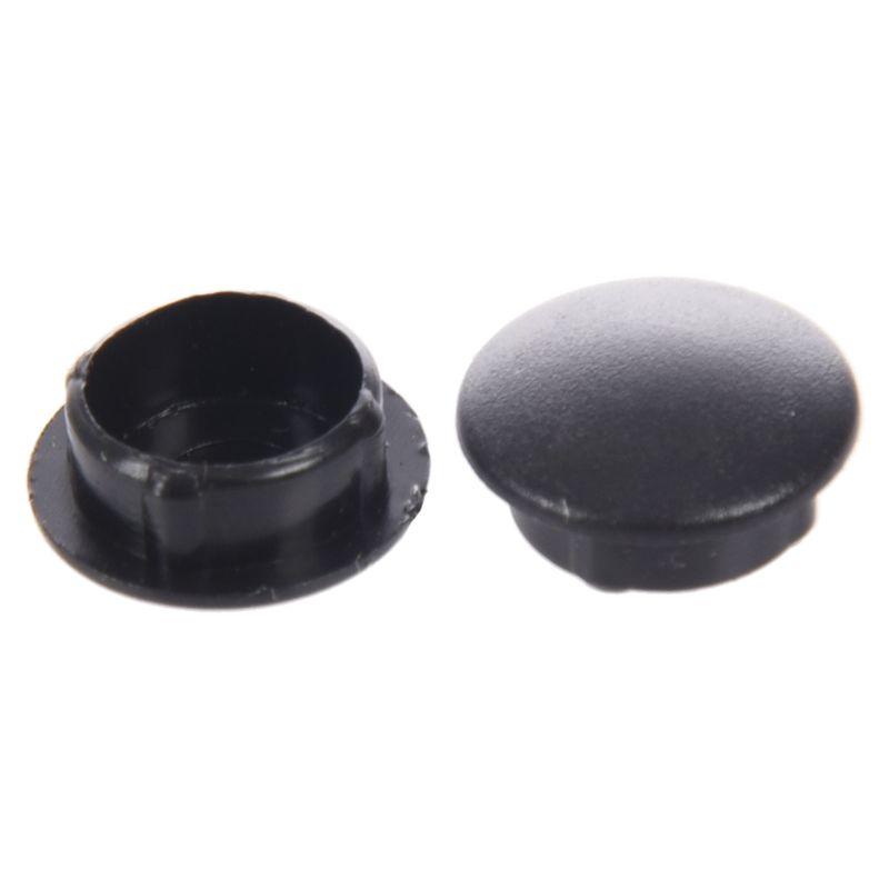 Fashion-10 Pcs Plastic 10mm Diameter Flush Mounted Tube Insert Caps Cover Black