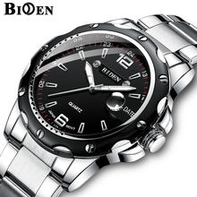 BIDEN Luxury Quartz Mens Watches Business Men Watch Waterproof Stainless Steel Sport Wrist Watch for men Clock relogio masculino(China)
