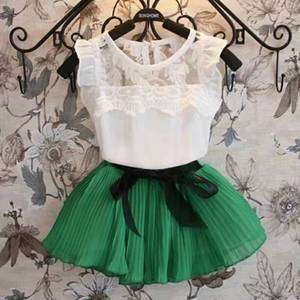 Summer Chiffon Kids Baby Girls Lace White T-shirt Tops Green Red Tutu Skirt Outfits Set Kids Girl Clothes Set Children Suits(China)