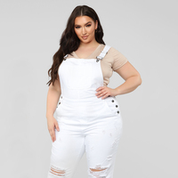 Women Jumpsuits Plus Size Denim Ripped White High Street Bandage Jumpsuit Vintage Slim Lady Belted Bodysuit Dropshipping