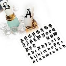 5 sayfalık/lot 3D mektup tırnak sanat Sticker tırnak çıkartması eski İngilizce alfabe karakter tırnak etiket çıkartmaları tırnak dekorasyon DIY