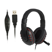цена на USB Wired Headband Headphone Noise Canceling Stereo Earphone with Microphone 2M Cable for PS3 / PS4 PC Gaming Headset