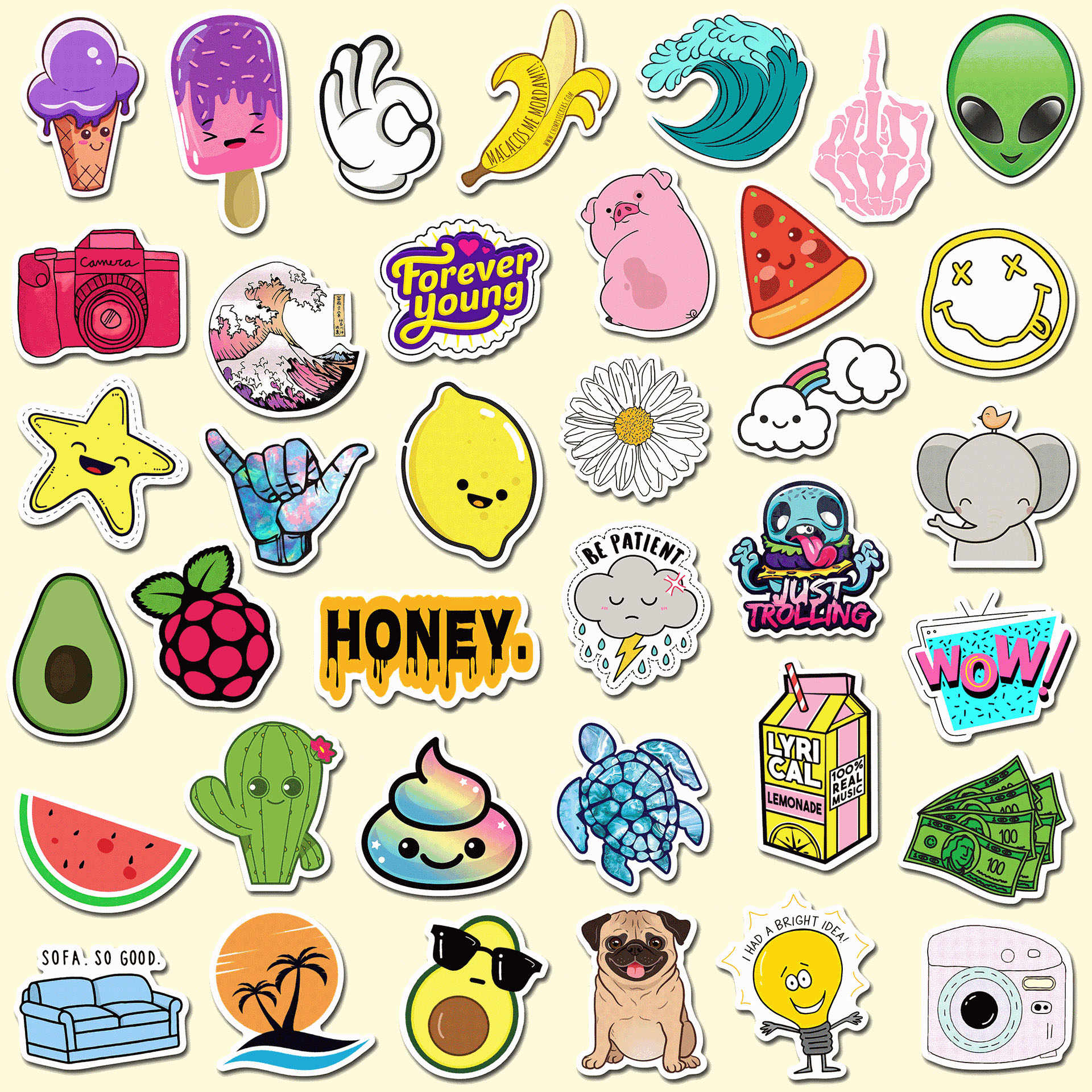 25pcs  Fruit Animals Cartoon avocado lemon Retro Travel Sticker DIY For Suitcase Luggage Laptop Skateboard Car Sticker