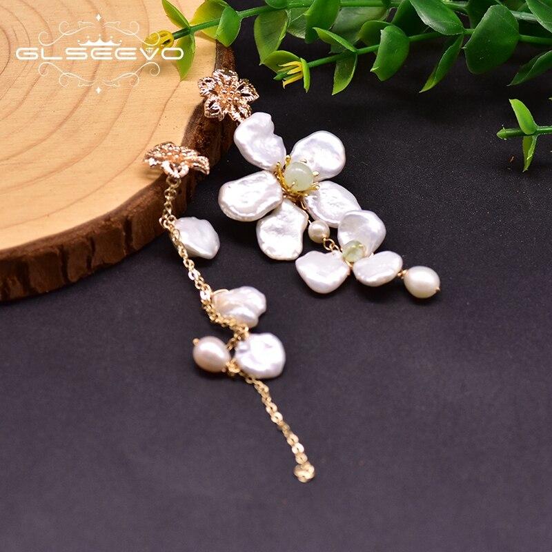 GLSEEVO Handmade Natural Fresh Water Pearl Asymmetric Drop Earrings For Women Flower Long Tassel Dangle Earrings Jewelry GE0915