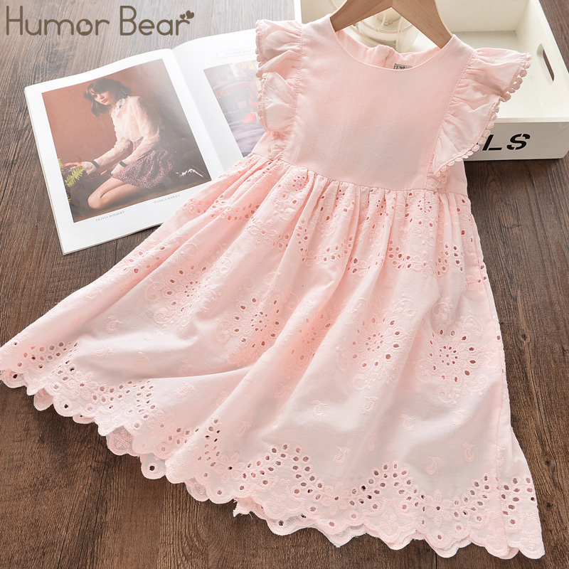 Humor Bear Summer Girls Dress 2020 NEW Hollow Embroidered Fying Sleeves Princess Party Dress Fashion Baby Kids Girls Clothing