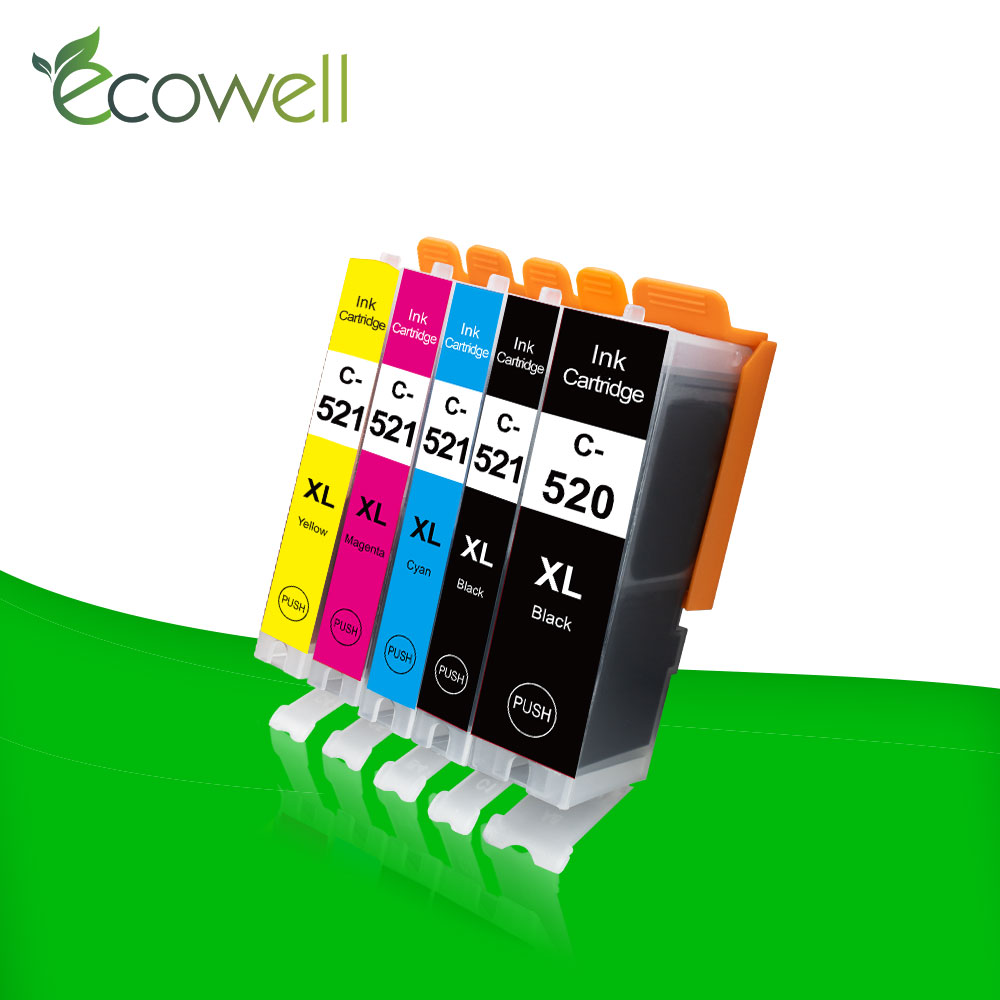 Ecowell Compatible PGI-520 ink cartidge PGI 520 CLI521 replacment for <font><b>Canon</b></font> <font><b>PIXMA</b></font> <font><b>IP3600</b></font> MP540 MP550 MP560 IP4600 IP4700 Printer image