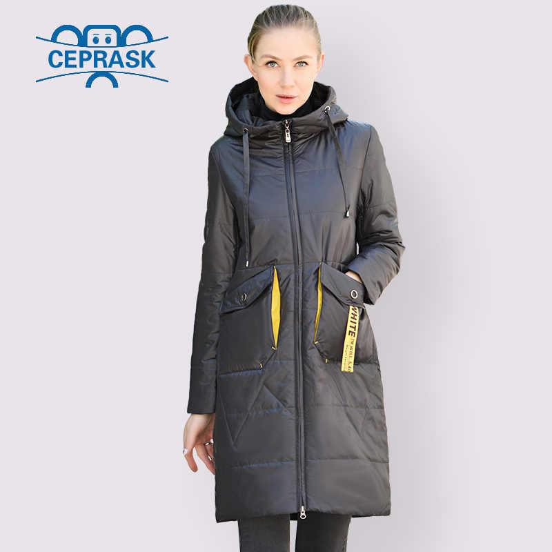 CEPRASK 2020 봄 가을 재킷 여성 핫 세일 얇은면 파카 롱 플러스 사이즈 후드 패션 대비 컬러 코트 새 옷