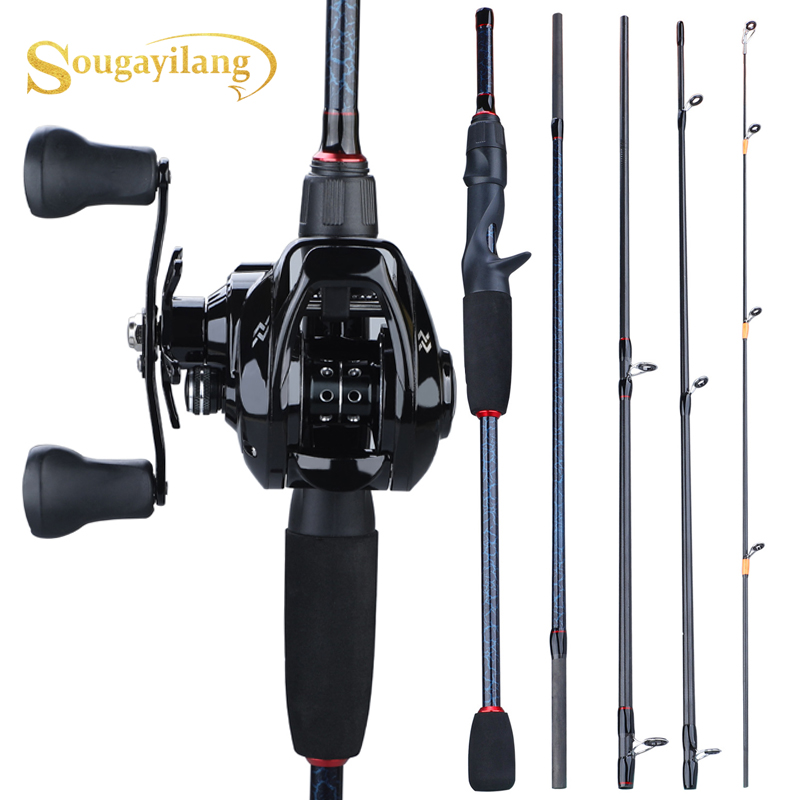 Sougayilang 1.8m- 2.4m Casting Fishing Rod Combo Portable 5 Section  Fishing Rod And 12+1BB 7.0:1 Gear Ratio Baitcasting Reel