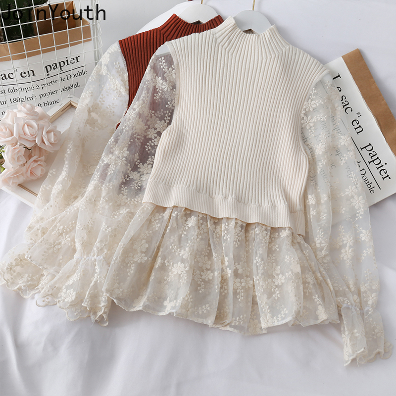 Joinyouth Fake Two Piece Knitted Pullover Sweater Autumn Winter Ruffles Lace Top Knitwear Women Half Turtleneck Pull Femme 56698