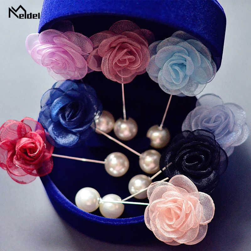 Ramillete de Meldel novio ramo de boda Simple flor de Rosa broche de perlas falsas fiesta graduación reunión ramillete solapa Pin ojal