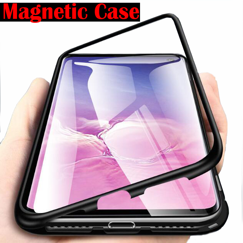 Metal Magnetic <font><b>Glass</b></font> <font><b>Case</b></font> For <font><b>Samsung</b></font> Galaxy A50 A7 A70 <font><b>A40</b></font> A30 A20 A10 A60 A2 J2 Core A20E J4 J6 Plus A7 A9 2019 Magnet Cover image