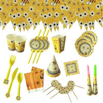 Decoraciones de fiesta de cumpleaños tema mariposa abeja bebé ducha decoración suministros platos desechables tazas servilletas Banners
