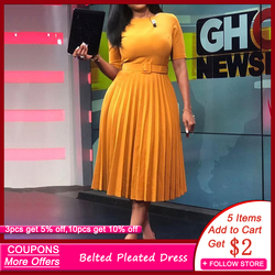 African Style Women Casual Belted Pleated Dress Elegant Chic Office Lady A-Line High Waist Dress 2020 Autumn Winter Fashion