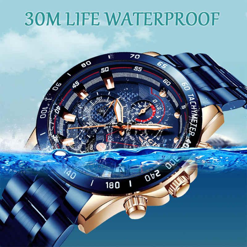 LIGE nuevo reloj de pulsera de acero inoxidable de marca de lujo para hombres de negocios reloj de pulsera cronógrafo ejército militar de cuarzo relojes de reloj Masculino