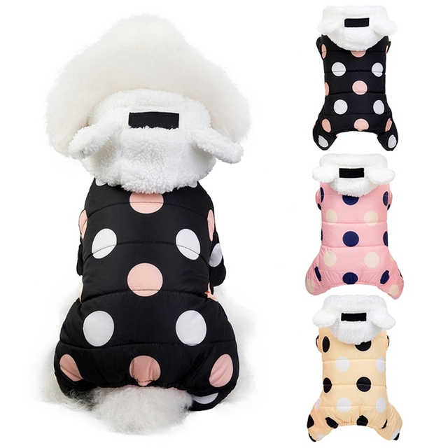 Pet Dog Clothes Winter Dog Hoodie Jumpsuit Small Dog Dot Printed Jacket Clothes Cute Fleece Ear Design Cotton-padded Coat 1