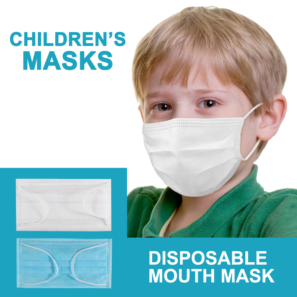 100 PCS Kids Mask 3 Layer Disposable Child Mask Anti-dust Elastic Mouth Soft Breathable Blue Child Kids Face Mask Dropshipping